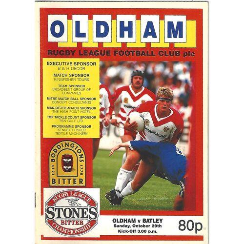 1989/90 Oldham v Batley Rugby League Programme