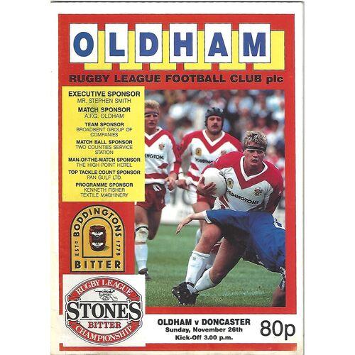 1989/90 Oldham v Doncaster Rugby League Programme