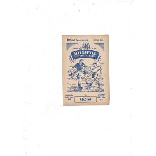 1955/56 Millwall v Reading Southern Floodlit Cup Football Programme
