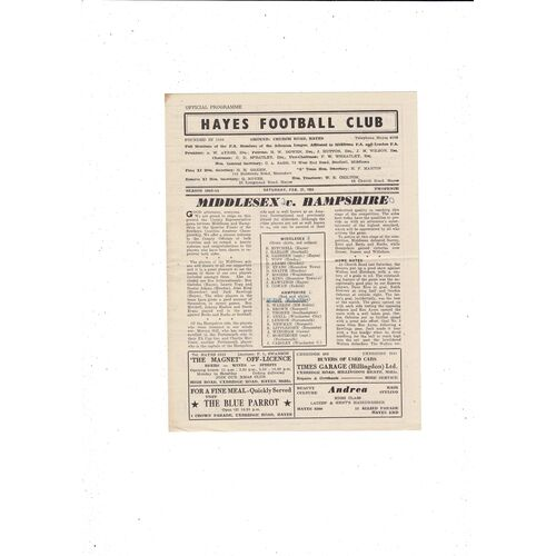 1953/54 Middlesex v Hampshire Friendly Football Programme @ Hayes