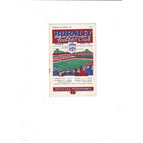 1952/53 Burnley v Stoke City Football Programme