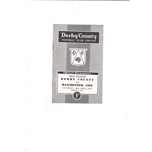 1952/53 Derby County v Manchester City Football Programme