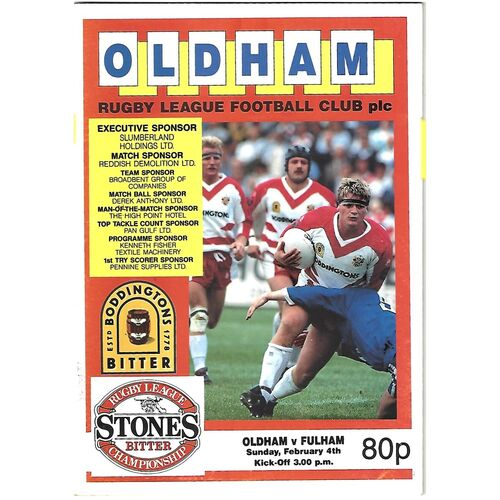 1989/90 Oldham v Fulham Rugby League Programme
