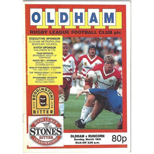 1989/90 Oldham v Runcorn Rugby League Programme