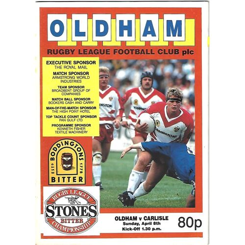 1989/90 Oldham v Carlisle Rugby League Programme