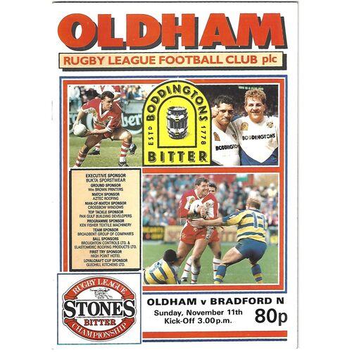 1990/91 Oldham v Bradford Northern Rugby League Programme