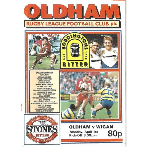 1990/91 Oldham v Widnes Rugby League Programme