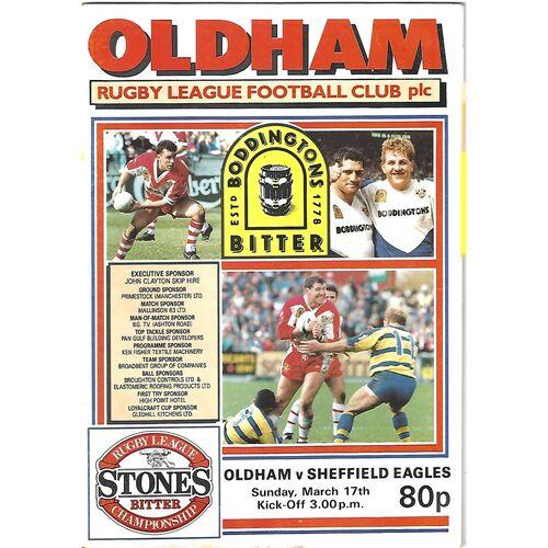 1990/91 Oldham v Sheffield Eagles Rugby League Programme