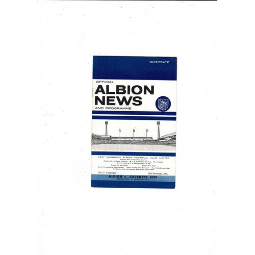 1965/66 West Bromwich Albion v Coventry City League Cup Replay Football Programme