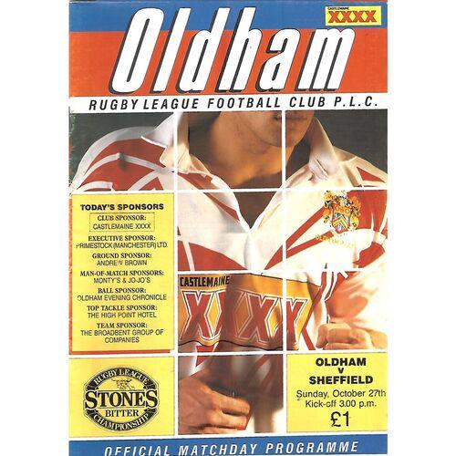 1991/92 Oldham v Sheffield Eagles (27/10/1991) Rugby League Programme