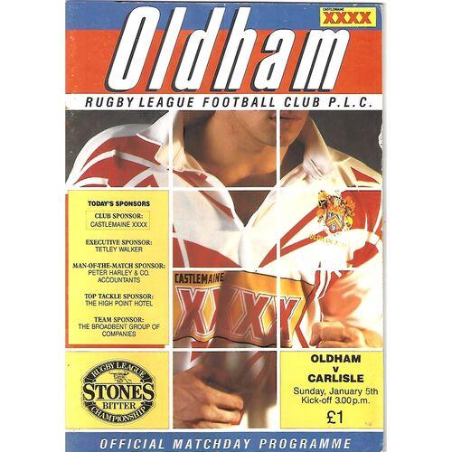 1991/92 Oldham v Carlisle (05/01/1992)  Rugby League Programme