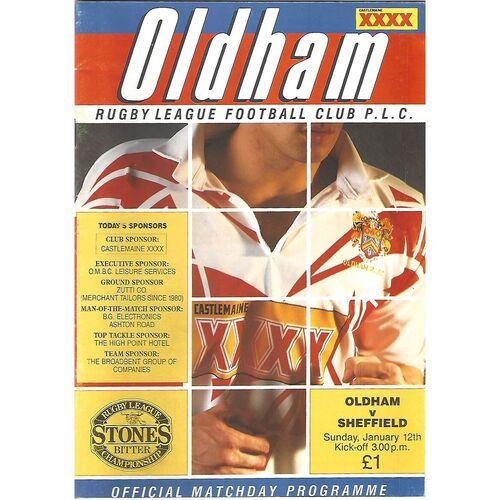1991/92 Oldham v Sheffield Eagles (12/01/1992) Rugby League Programme