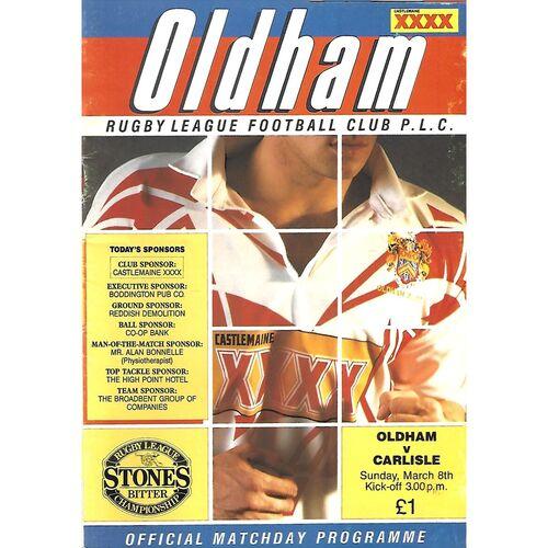 1991/92 Oldham v Carlisle (08/03/1992) Rugby League Programme