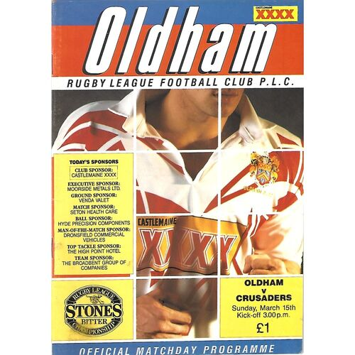1991/92 Oldham v London Crusaders (15/03/1992) Rugby League Programme