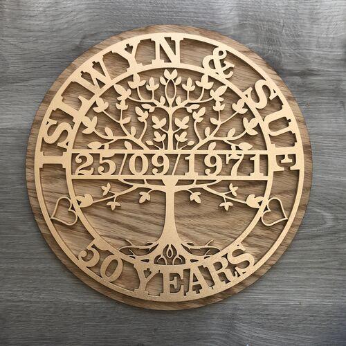 Customised Tree Of Life Wedding Anniversary Gift | Custom Wedding Present | Tree Of Life Monogram | Special Anniversary Gift