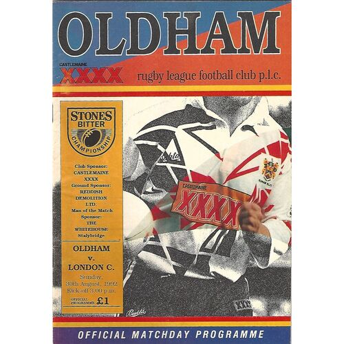 1992/93 Oldham v London Crusaders Rugby League Programme