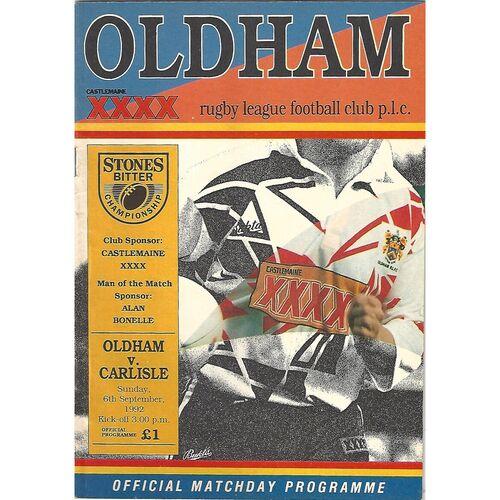 1992/93 Oldham v Carlisle Rugby League Programme