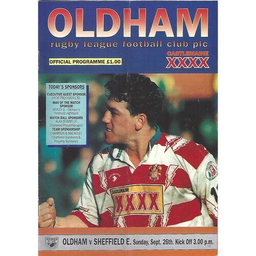 1993/94 Oldham v Sheffield Eagles Rugby League Programme