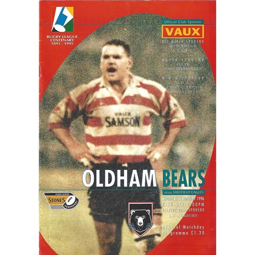 1995/96 Oldham Bears v Sheffield Eagles Rugby League Programme