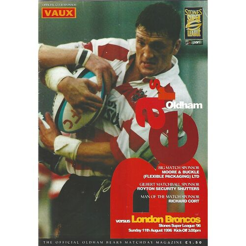 1996 Oldham Bears v London Broncos Rugby League Programme