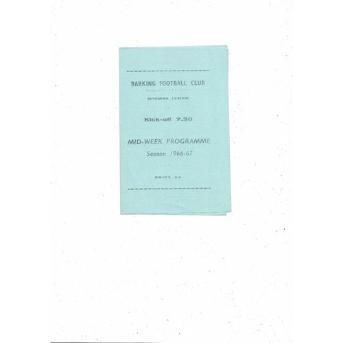 1966/67 Barking v Brentwood Mithras Cup Semi Final Football Programme