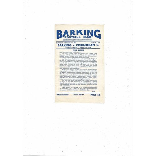 1966/67 Barking v Corinthian Casuals Football Programme