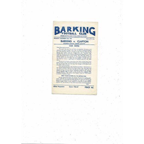 1966/67 Barking v Clapton Football Programme