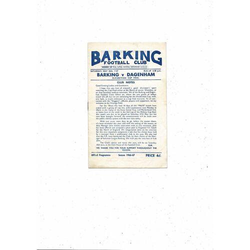 1966/67 Barking v Dagenham Elizabethan Cup Final Football Programme