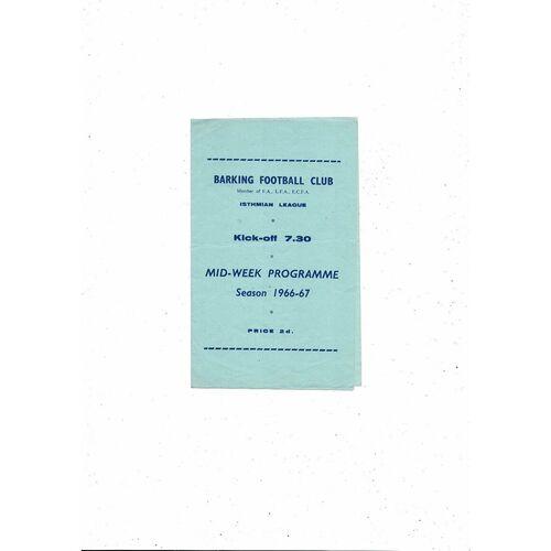 1966/67 Barking v Edmonton East Anglian Cup Football Programme