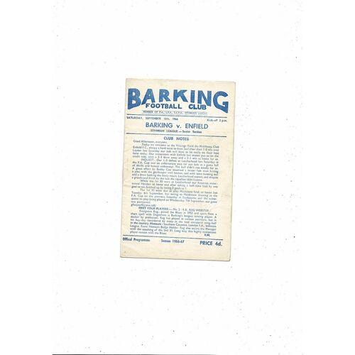 1966/67 Barking v Enfield Football Programme