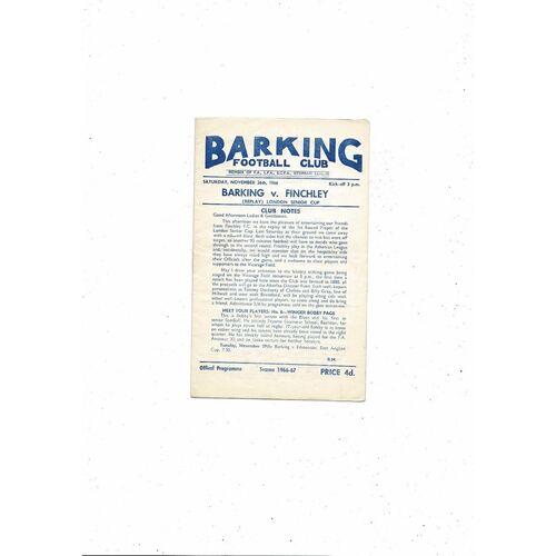 1966/67 Barking v Finchley London Senior Cup Replay Football Programme