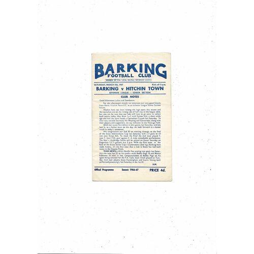 1966/67 Barking v Hitchin Town Football Programme
