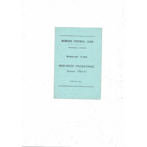 1966/67 Barking v Hendon Football Programme