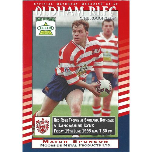 1998 Oldham v Lancashire Lynx Rugby League Programme