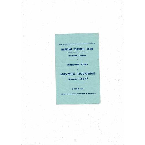1966/67 Barking v Ilford Football Programme