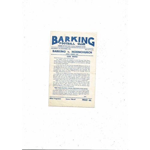 1966/67 Barking v Hornchurch Essex Senior Cup Football Programme