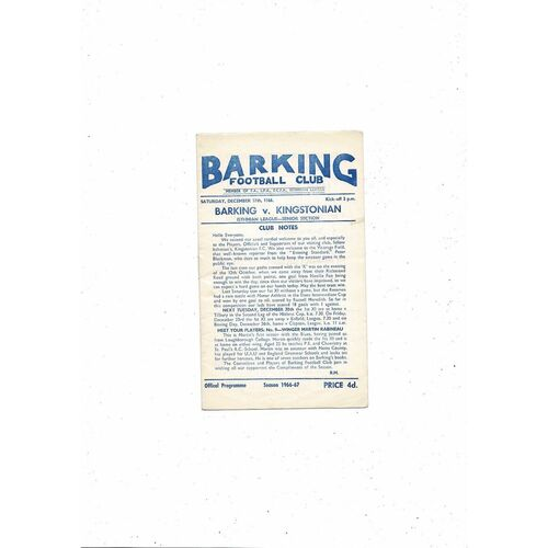 1966/67 Barking v Kingstonian Football Programme