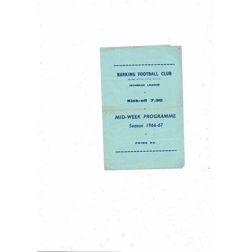 1966/67 Barking v Leyton London Charity Cup Football Programme