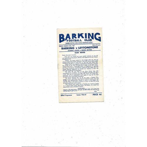 1966/67 Barking v Leytonstone Football Programme