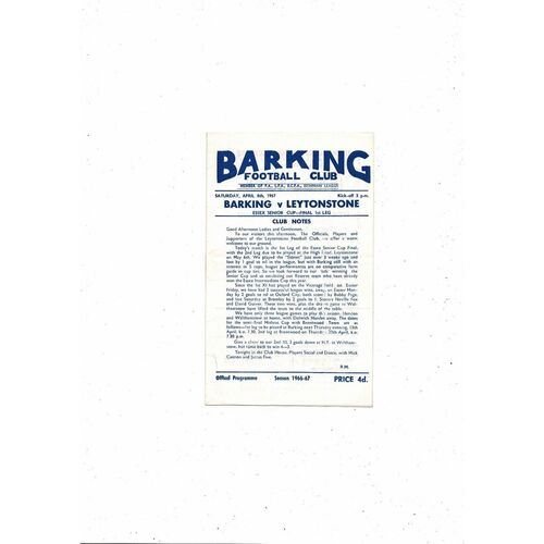 1966/67 Barking v Leytonstone Essex Senior Cup Final Football Programme