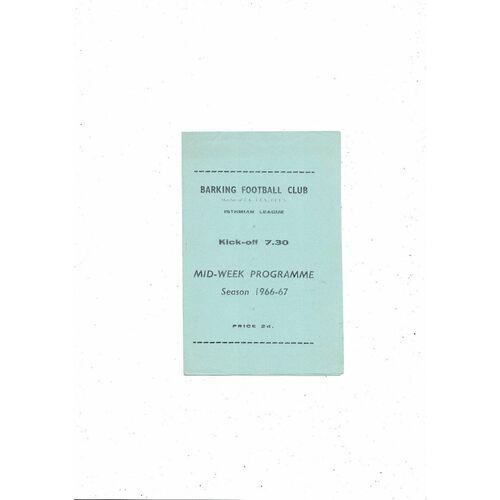 1966/67 Barking v Maidenhead United Mithras Cup Final Football Programme