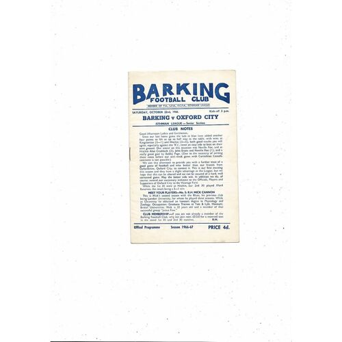 1966/67 Barking v Oxford City Football Programme