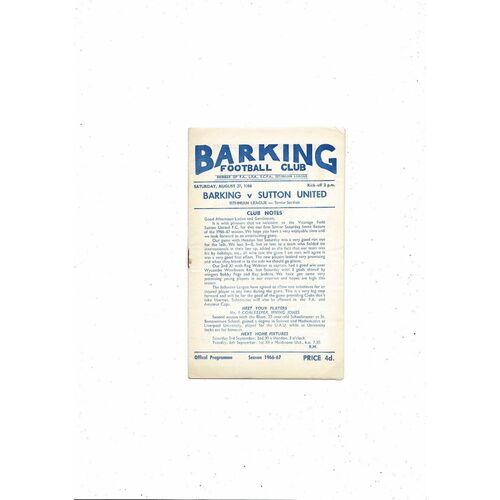 1966/67 Barking v Sutton United Football Programme