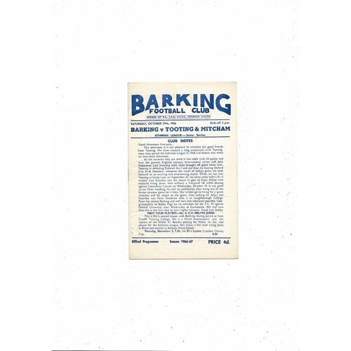 1966/67 Barking v Tooting & Mitcham Football Programme