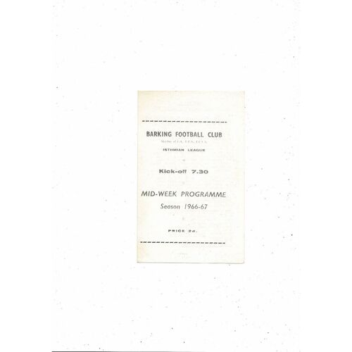 1966/67 Barking v Tilbury Mithras Cup Football Programme