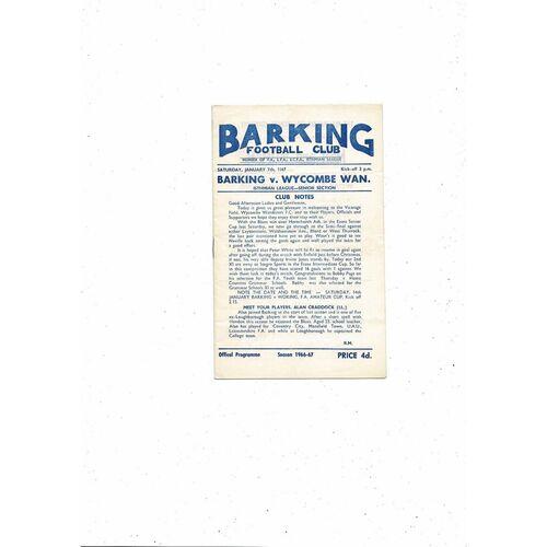 1966/67 Barking v Wycombe Wanderers Football Programme