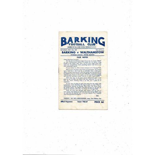 1966/67 Barking v Walthamstow Football Programme