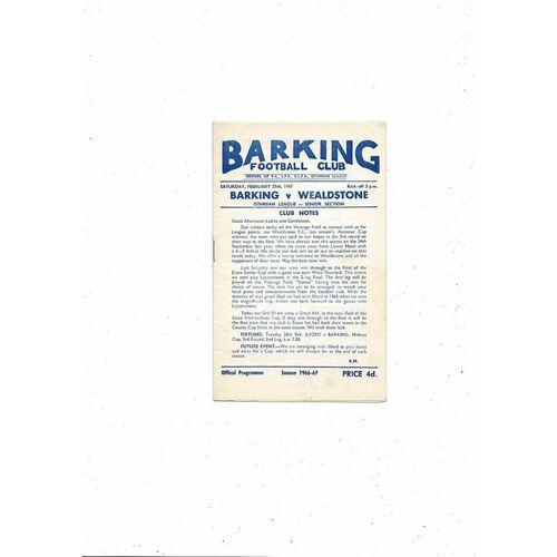 1966/67 Barking v Wealdstone Football Programme