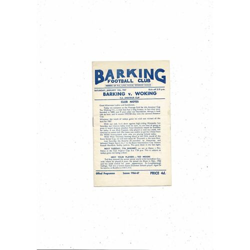 1966/67 Barking v Woking FA Amateur Cup Football Programme
