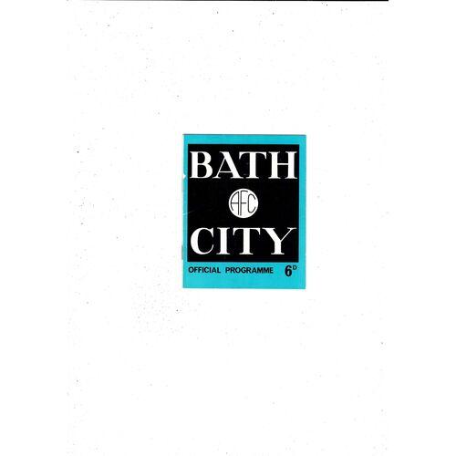 1968/69 Bath City v Barry Town Football Programme